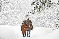 Austria, Salzburger Land, Altenmarkt, Couple walking in snow covered landscape, Stock Photos