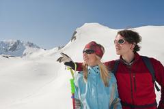 Austria, Salzburger Land, Altenmarkt, Zauchensee, Young couple, portrait - stock photo