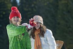 Austria, Salzburger Land, Altenmarkt, Boy (6-7) and girl (10-11) having fun, - stock photo