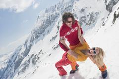 Austria, Salzburger Land, Couple having fun, laughing, portrait Stock Photos