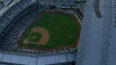 Aerial sun flare view Safeco Field Baseball Stadium, Seattle Stock Footage