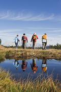 Austria, Salzburger Land, Four hikers in landscape, rear view - stock photo