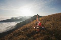 Austria, Steiermark, Reiteralm, Hikers relaxing Stock Photos