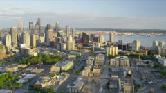 Aerial Skyline view Space Needle Downtown Seattle, USA Stock Footage