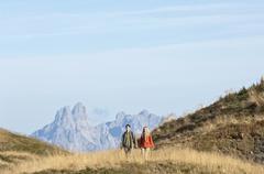Austria, Steiermark, Reiteralm, Couple hiking Stock Photos
