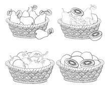 Baskets with fruits and vegetables, outline Stock Illustration