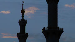 Stock Video Footage of The spires and minarets of the beautiful Sheikh Zayed Mosque in Abu Dhabi,