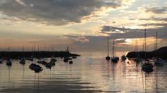 Atlantic Harbor, dawn, summer, boats, New England Stock Footage