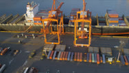 Stock Video Footage of Aerial view Container Ship unloading freight Port of Seattle