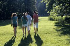 Four young people walking in park, rear view - stock photo