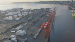 Aerial view Container Ship docked Port of Seattle, USA - stock footage