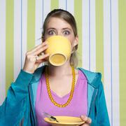 Teenage girl (16-17)  drinking coffee, portrait Stock Photos
