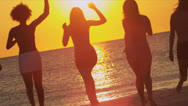 Carefree Young People Beach Vacation Sunset Stock Footage