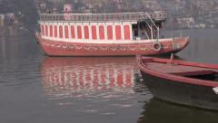 Boats on Ganges river in sacred  city Varanasi Stock Footage