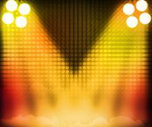 Gold show room spotlights stage background Stock Illustration