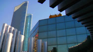Stock Video Footage of High rises accent the beautiful skyline of Abu Dhabi in the United Arab