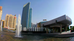 High rises accent the beautiful skyline of Abu Dhabi in the United Arab - stock footage