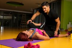 physical therapy - hip - stock photo