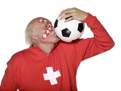 Old swiss football fan Stock Photos