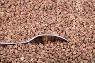 Buckwheat background and one teaspoon Stock Photos