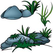 Grass And Rocks Stock Illustration