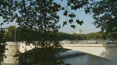 Tram crossing the Tiber river in Rome (slomo dolly) Stock Footage