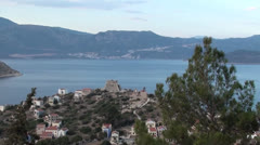 View from Greek island to Turkish land Stock Footage