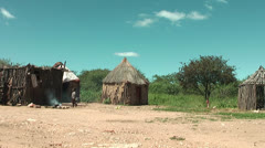 African native tribes - Himba village athmosphere in Namibia Stock Footage
