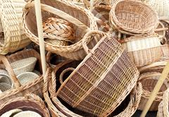 Wicker baskets and boxes - stock photo