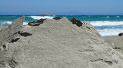 Sand Pyramid Ruins and Waves Stock Footage