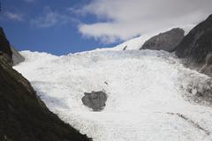 New Zealand, South Island, View of icefield of franz josef glacier - stock photo