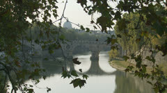 Tiber river, with St Peters in distance 2 (slomo dolly) Stock Footage