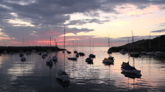 Rockport Harbor, dawn, summer, boats, New England Stock Footage