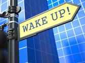 Stock Illustration of Wake Up Roadsign. Business Concept.