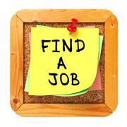 Stock Illustration of Find a Job. Yellow Sticker on Bulletin.