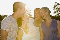 Stock Photo of Germany, Bavaria, Young people having fun, portrait, close-up