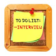 Stock Illustration of Interview Concept. Yellow Sticker on Bulletin.