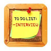 Interview Concept. Yellow Sticker on Bulletin. - stock illustration