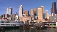 Stock Video Footage of The city of Seattle as seen from the ferry approaching.