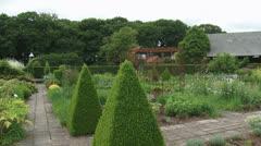 Traditional kitchen garden or potager - pan blue garden bench Stock Footage