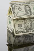 Stack of US Dollar bills, close up Stock Photos