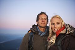Austria, Steiermark, Dachstein, Couple smiling, close-up - stock photo