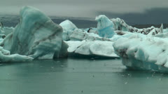 Blue icebergs at jokulsarlon iceland Stock Footage