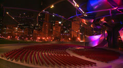 Nighttime shot of the Jay Pritzker Pavilion in Chicago's Millennium park. Stock Footage