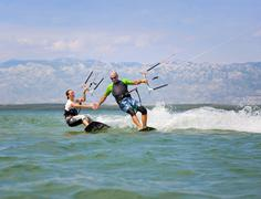 Croatia, Zadar, kitesurfer having fun - stock photo