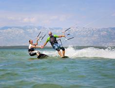 Croatia, Zadar, kitesurfer having fun Stock Photos