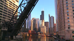 An open drawbridge with the Chicago skyline behind. Stock Footage