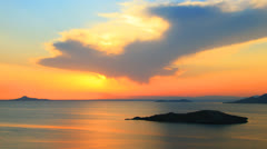 Dramatic sunset over sea, La Manga, Spain, time-lapse - stock footage