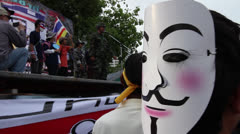 ANONYMOUS GUY FAWKES MASK PROTEST MOVEMENT Stock Footage