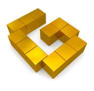 letter g cubic golden - stock photo